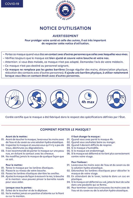 Notice d'utilisation des masques